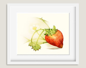 Watercolor Painting - Strawberry Painting - Watercolor Strawberry - 8 by 10 print - Archival Print, Minimalist, Home Decor, Fruit Art