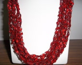 Red Red Lace Necklace Crochet  Necklace  Trellis Ribbon Lace Fiber  Yarn  Red  Christmas Gift
