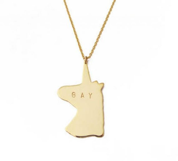 Unicorns are GAY Necklace