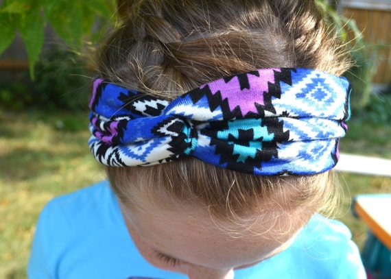 NEW Turban Twist Headband - Purple Blue Black Aztek