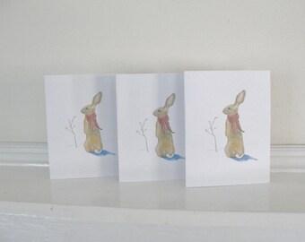 Christmas Card Set, Holiday Greeting Cards, Bunny Rabbit Christmas Greeting Cards, Rabbit Christmas Card, Rabbit Holiday Card Set of 6
