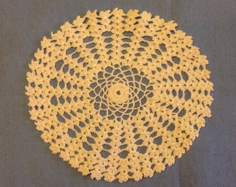 Vintage 1930s / 1940s Hand Crocheted Cream Colored Doily no. 2
