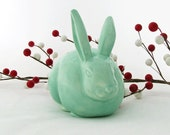 Sea Glass Green Ceramic Cottontail Bunny Cotton Ball Holder for Bathroom Vanity Bunny Cotton Keeper