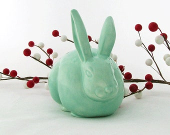 Sea Glass Green Ceramic Cottontail Bunny Rabbit Cotton Ball Holder for Bathroom Vanity Bunny Cotton Keeper