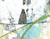 Bear Wall Art Print , Acrylic Painting Reproduction , Mixed Media Collage Print , Whimsical Print