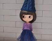 Babydoll Pom-Pom Hat for Blythe Doll-Dark Blue