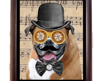 Steampunk Dog Man Cigarette Case Wallet Business Card Case Sweetheartsinner Pit Bull Pitbull