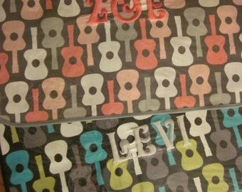 WATERPROOF WIPEABLE PLACEMAT Personalized Child's Vinyl Covered Placemat Groovy Guitar Print