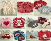 Knitted Toy knitting pattern for a seasonal selection of sweaters