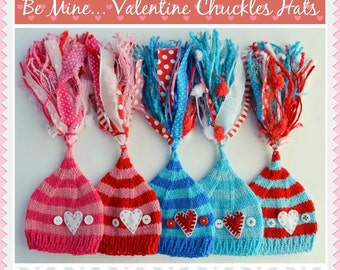Baby Knit Hat 3 - 6 month BaBY PHoTO PRoP Heart Stocking Cap STRiPE Boy Girl Beanie BiG TaSSeL Button CHuCKLe Toque PiCK CoLOR Red Pink Aqua