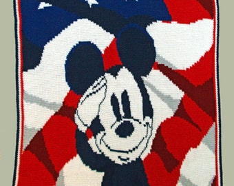 American Mickey - Hand Made Crocheted Afghan - BRAND NEW