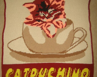 Catpuchino - Hand Made Crocheted Afghan - BRAND NEW