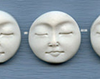 Lot of 3  White Faux Bone Polymer White Moon Beads Side Drilled MBS 1