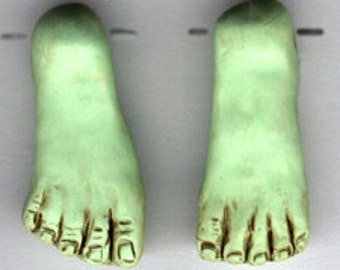 Polymer Clay Drilled Halloween  Green Witch or Frankenstein Feet Pair