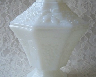Vintage White Milk Glass Octagon with Lid Compote Dish