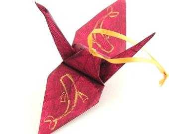 Koi, Japanese Carp Fish, Gold on Cranberry Red Origami Crane Ornament