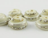 Ivory and Fine Silver Droplet Swirl Lampwork Glass Bead Caps