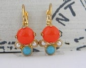 Orange Coral Turquiose Pearl Gold Leverback Earrings