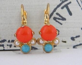 Orange Coral Turquiose Pearl Gold Leverback Earrings
