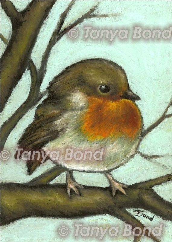 Robin - PRINT of an original oil pastel painting by Tanya Bond