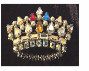 SALE -Gorgeous Mid Century Aurora Borealis  Crystal Rhinestone CROWN BROOCH - Signed by Designer B. David