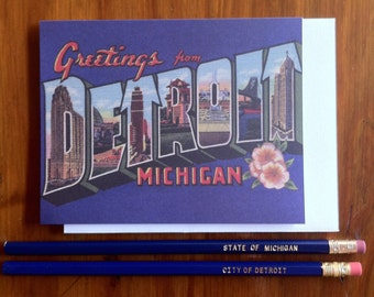 Greetings from Detroit 1920's Card - Blank Inside