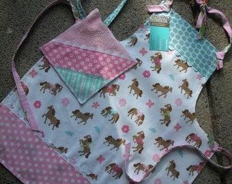 Girls Aprons - Pony Aprons - Childs Horse Apron - Size 4-6 or 6-8 Apron - Pink Horse Apron - Apron - Annies Attic Aprons