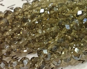 Glass Beads - 42 pcs - Smokey - Faceted - 6mm x 4mm - Rondelles