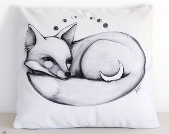 SALE: Moon Fox cushion cover. Decorative pillow. Velvet pillow. Woodland. Animal illustration. Australian gift with original art by flossy-p