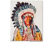 American Heritage (Chief) Print on Wood