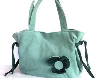 Handmade purse in teal color - Vegan corduroy handbag - Teenager's gift , Top handle bag , Fabric tote purse , girls fashion purse