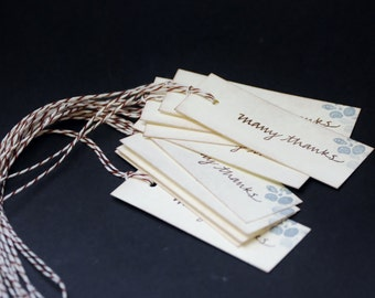 Many Thanks, hand stamped hang tags, set of 10
