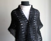 Hand Knit Mohair Silk Crescent Shawl Scarf Cowl Wrap, Eyelet Lace, Black, Stylish Comfort Prayer Meditation, Ready to Ship, FREE SHIPPING