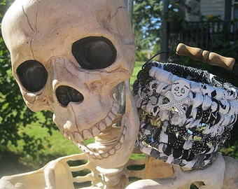 SKELETON SKuLL hand coiled fabric art  BaSKeT GOOSEBUMPS halloween Series