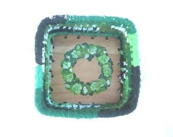 RIVERDANCE  textile art fabric BASKET box  Hand PAINTED clover wreath