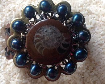 Ammonite with Blue Fresh Water Pearl Upcycled Bracelet
