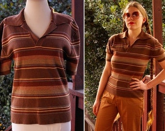 ALFIE 1970's Vintage Brown & Cream Striped Men's Sweater Shirt with Large Collar Short Sleeves // size Med Large
