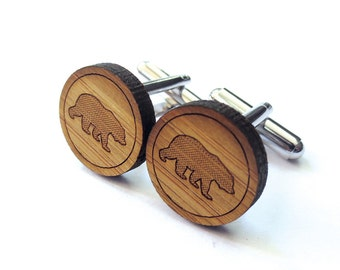 Big Bear Cufflinks. Bear Cufflinks. Wood Cufflinks. Groomsmen Gift. Groom Gift. Gift For Men. Mens Gift. Gifts For Dad. Gifts Under 25. Bear