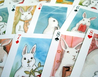 Adorable White Rabbits Poker Playing Cards Deck