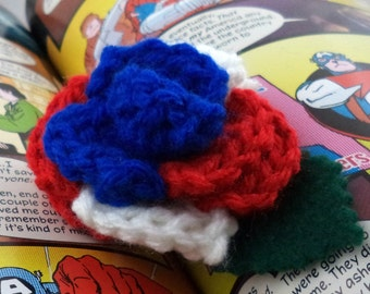 Crocheted Rose Lapel Pin - Red, White, and Blue (SWG-PL-HEAM01)
