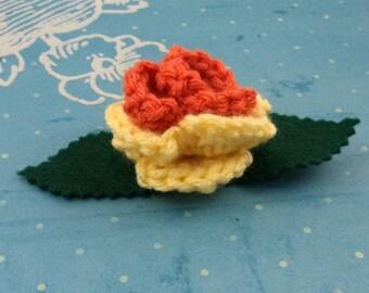 Crocheted Rose Bar Pin - Orange and Yellow (SWG-PS-MPAJ01)