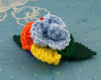 Crocheted Rose Bar Pin - Light Blue and Rainbow (SWG-PS-MPRD01)