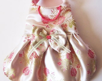 Dog Dress Wedding Pink Satin Brocade with Pink and green Flowers Bridal photo prop