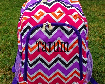 SALE Multi Chevron Backpack Monogrammed Name or Initials of Your Choice