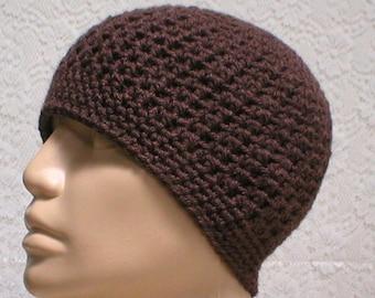 Brown crochet beanie hat, skull cap, brown hat, ski snowboard hat, toque, beanie hat, skateboard hat, mens womens hat, chemo cap, biker cap