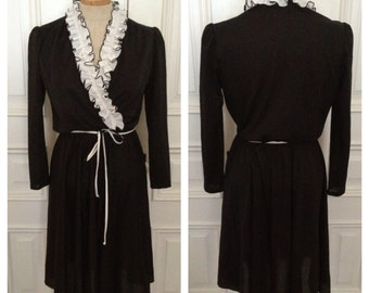Vintage 70s black white ruffle dress