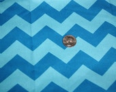 Chevron - David Textiles Fabric - One yard - Blue on blue
