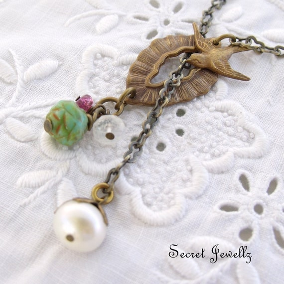 Vintaj Brass Necklace - Freshwater pearl with Moonstone, Pink Tourmaline, Czech Carved Flower Bead, Birds Of Flight - Lariat Syle Necklace