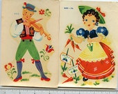Vintage Decals Lot of (2)  5 inches tall Gardining WOMAN Tyrolean Man 1940's Meyercord no 862b  872d MoRE AVAILABLE