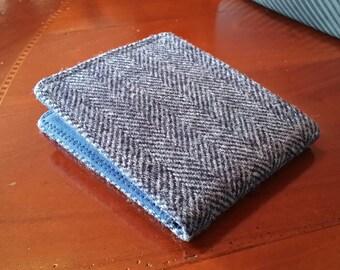 Mens Minimalist Wallet,  Slate Gray tweed herringbone  billfold, 7 Pocket  Slim Billfold, Wool wallet